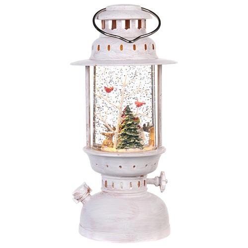 Palla di vetro in lanterna con pupazzo di neve 25x10 cm 4