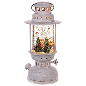Lantern-shaped glass ball with Santa Claus 20x10 cm s4