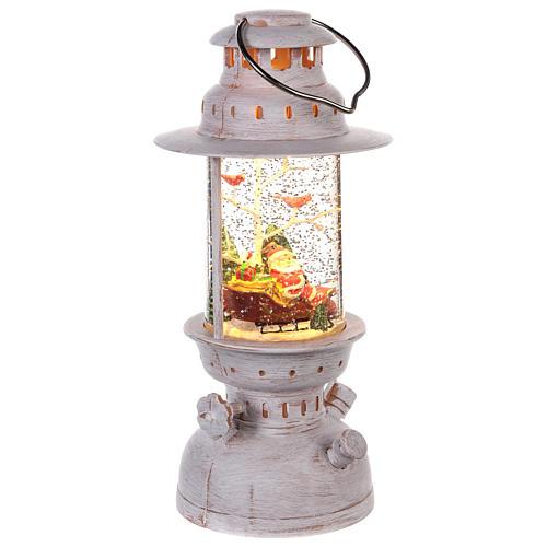 Lantern-shaped glass ball with Santa Claus 20x10 cm 3