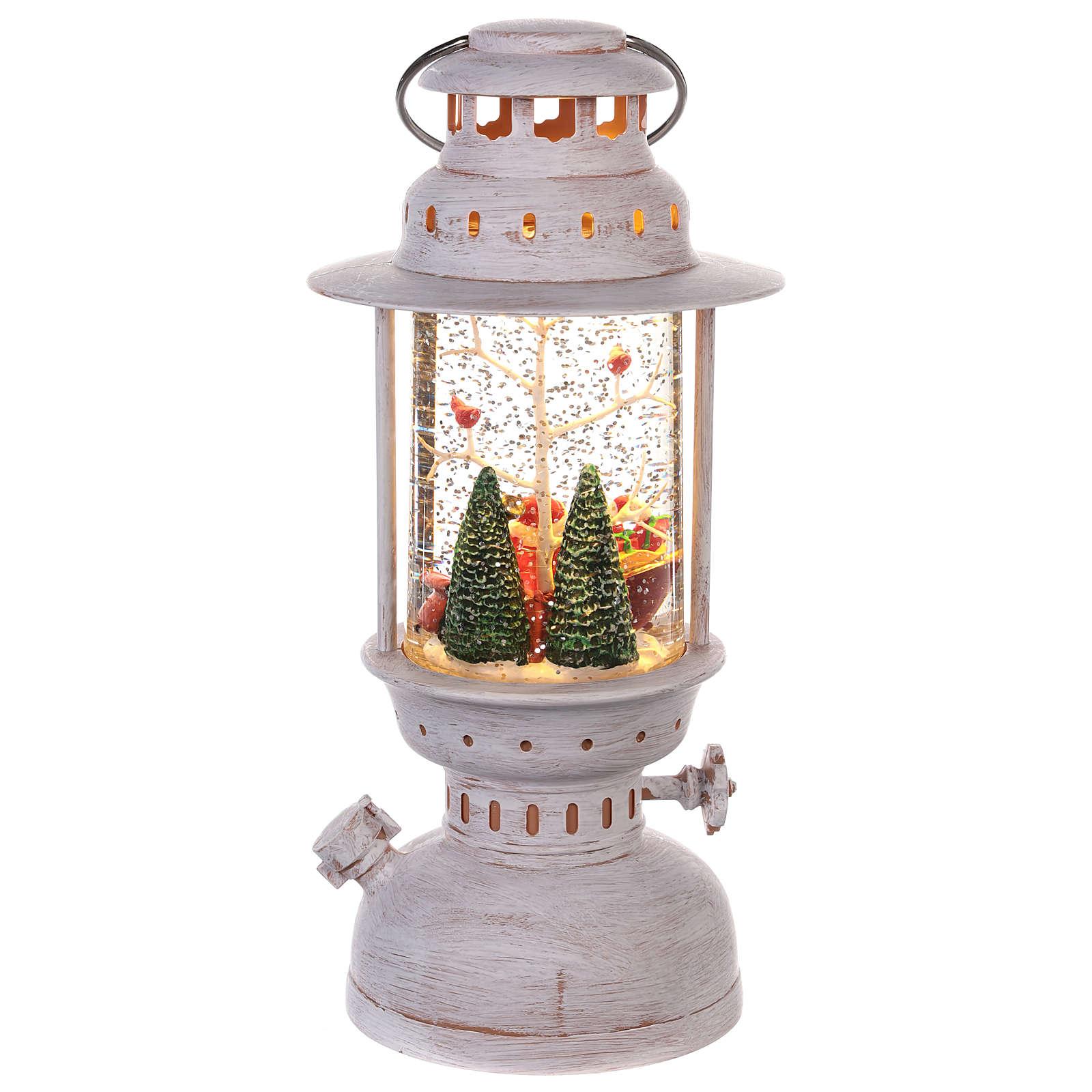 Bola de vidrio con Papá Noel en forma de linterna 20x10 cm 3