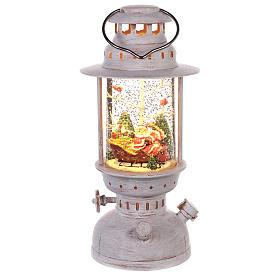 Boule de Noël avec neige: Boule à neige avec Père Noël en forme de lanterne 20x10 cm