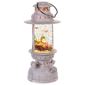 Boule à neige avec Père Noël en forme de lanterne 20x10 cm s3