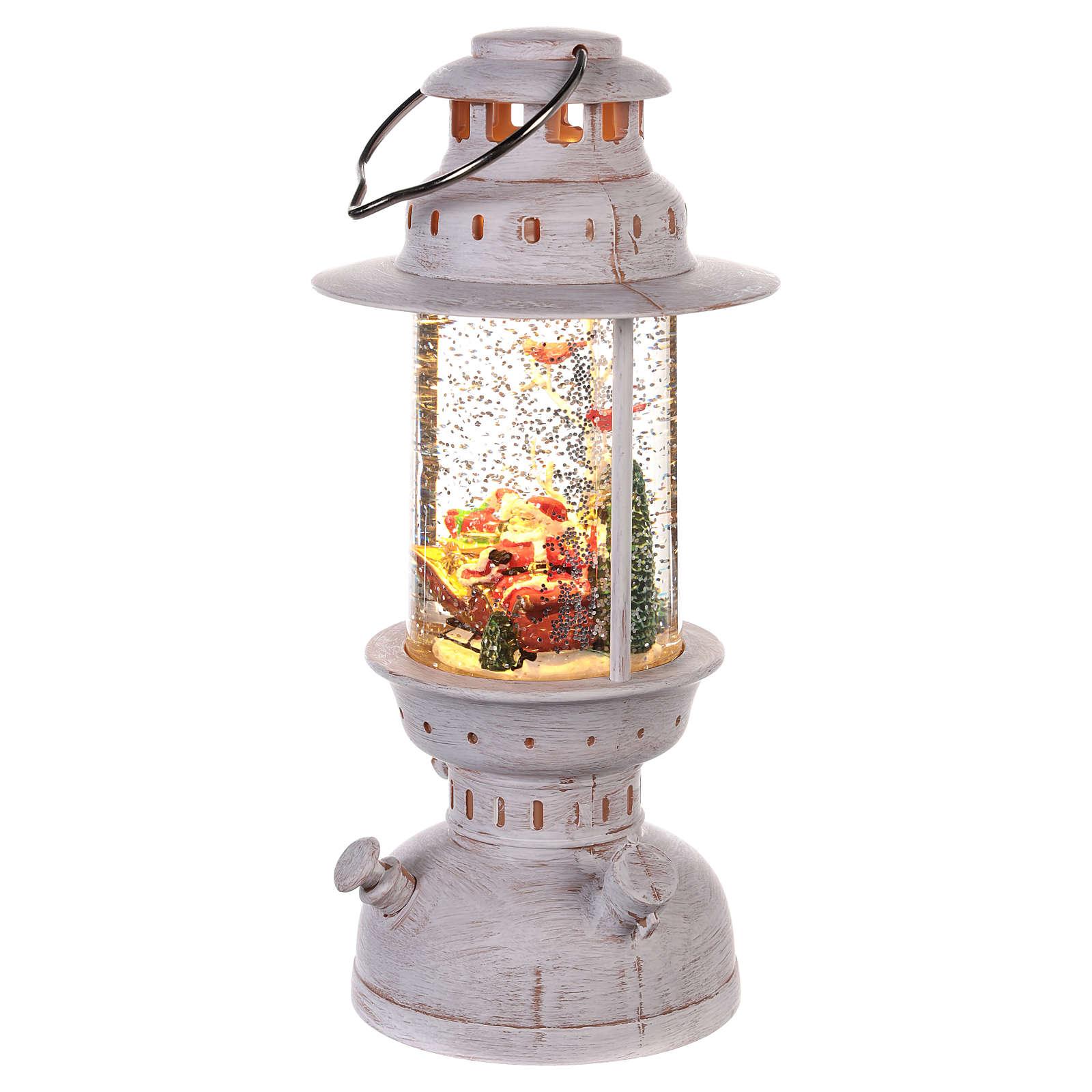 Palla di vetro con Babbo Natale a forma di lanterna 20x10 cm 3