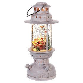 Palla di vetro con Babbo Natale a forma di lanterna 20x10 cm s2