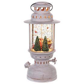 Palla di vetro con Babbo Natale a forma di lanterna 20x10 cm s4