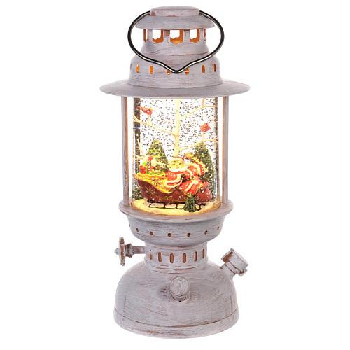 Palla di vetro con Babbo Natale a forma di lanterna 20x10 cm 1