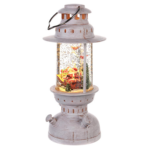 Palla di vetro con Babbo Natale a forma di lanterna 20x10 cm 2