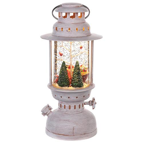 Palla di vetro con Babbo Natale a forma di lanterna 20x10 cm 4