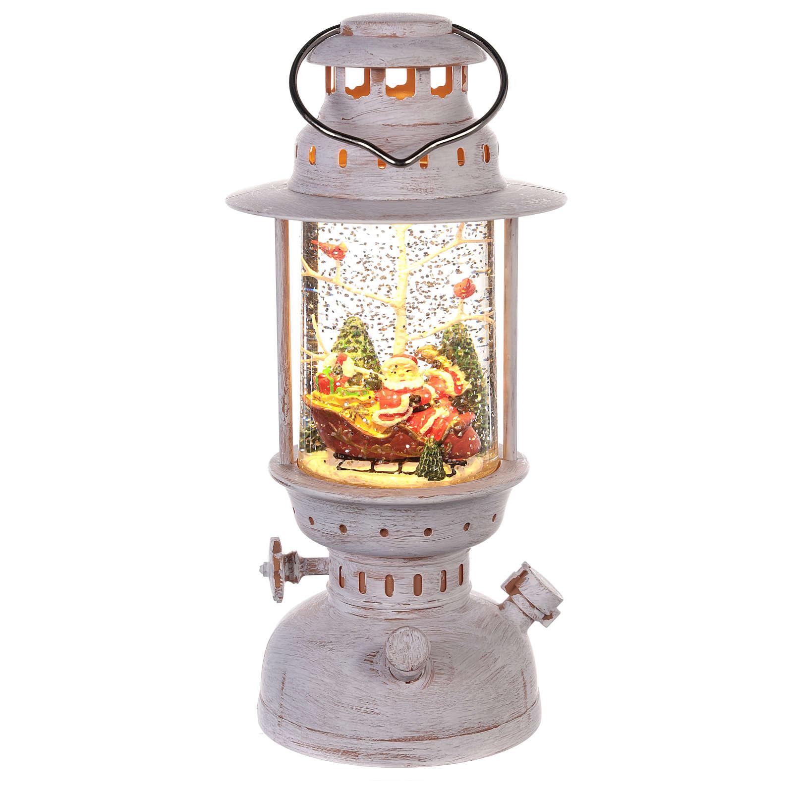 Globo de neve com Pai Natal em forma de lanterna 20x10 cm 3