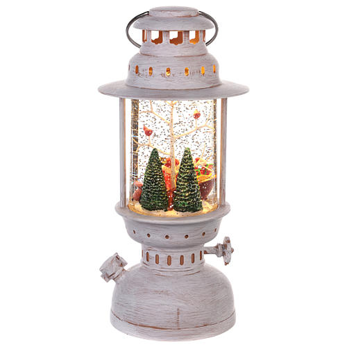 Globo de neve com Pai Natal em forma de lanterna 20x10 cm 4