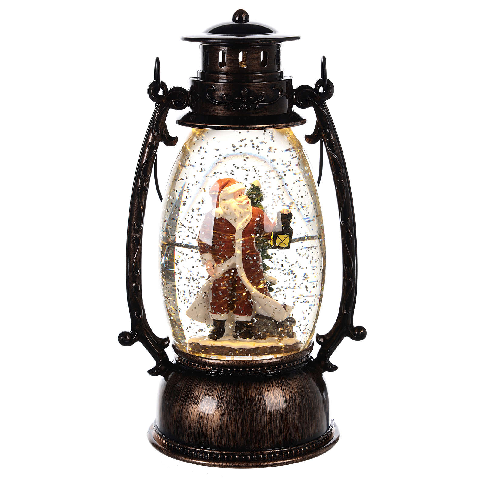 Glass ball with snow and Santa Claus in 25x10 lantern 3