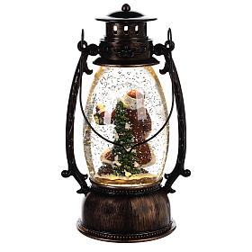 Glass ball with snow and Santa Claus in 25x10 lantern s4