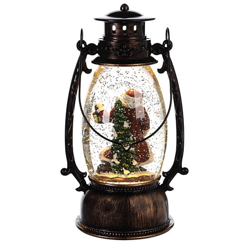 Glass ball with snow and Santa Claus in 25x10 lantern 4