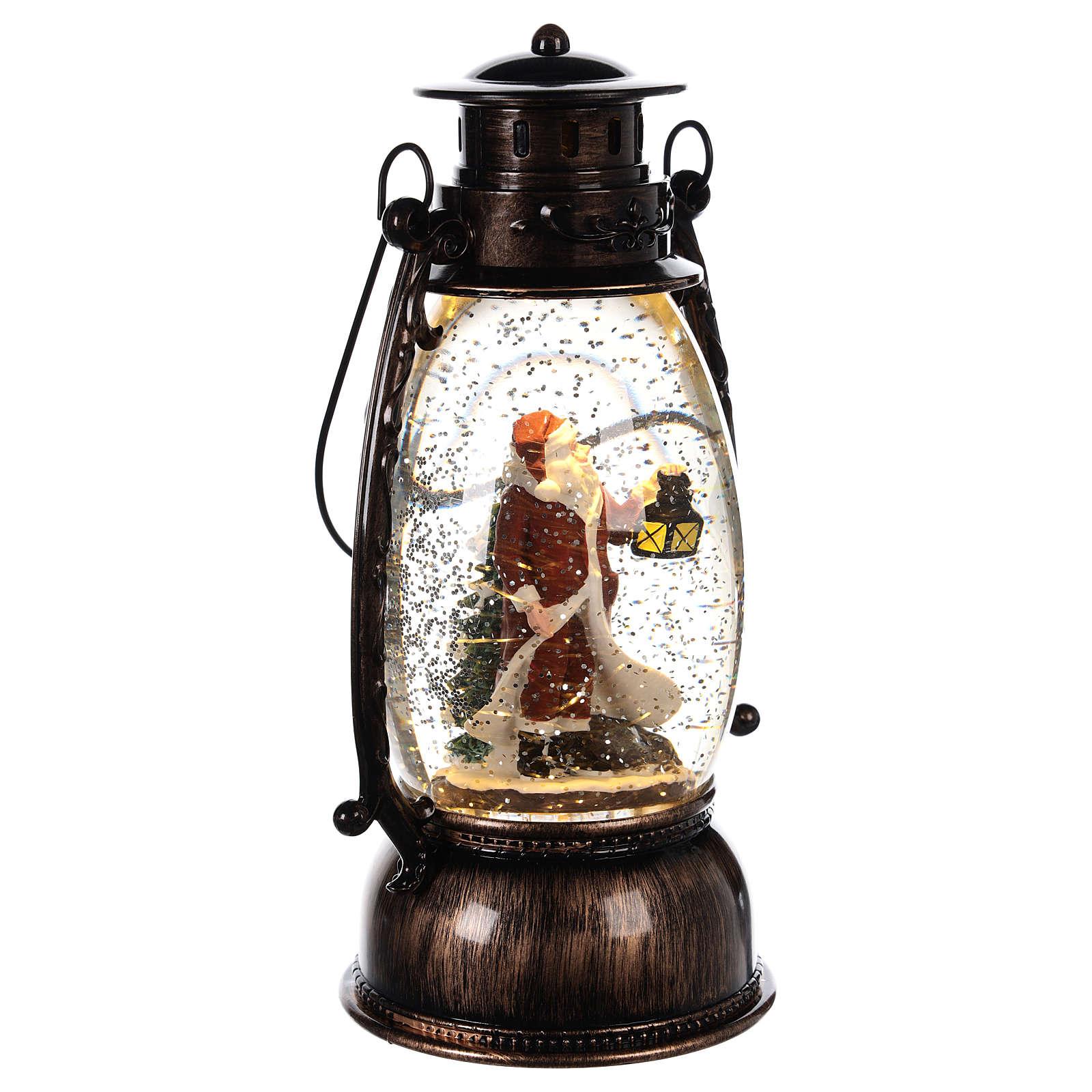 Bola de vidrio con nieve y Papá Noel en linterna 25x10 cm 3