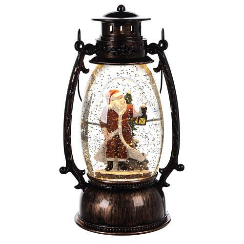 Bola de vidrio con nieve y Papá Noel en linterna 25x10 cm 1