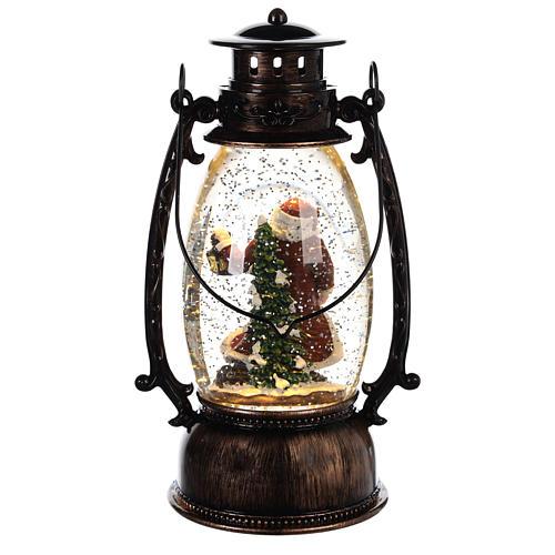Bola de vidrio con nieve y Papá Noel en linterna 25x10 cm 4