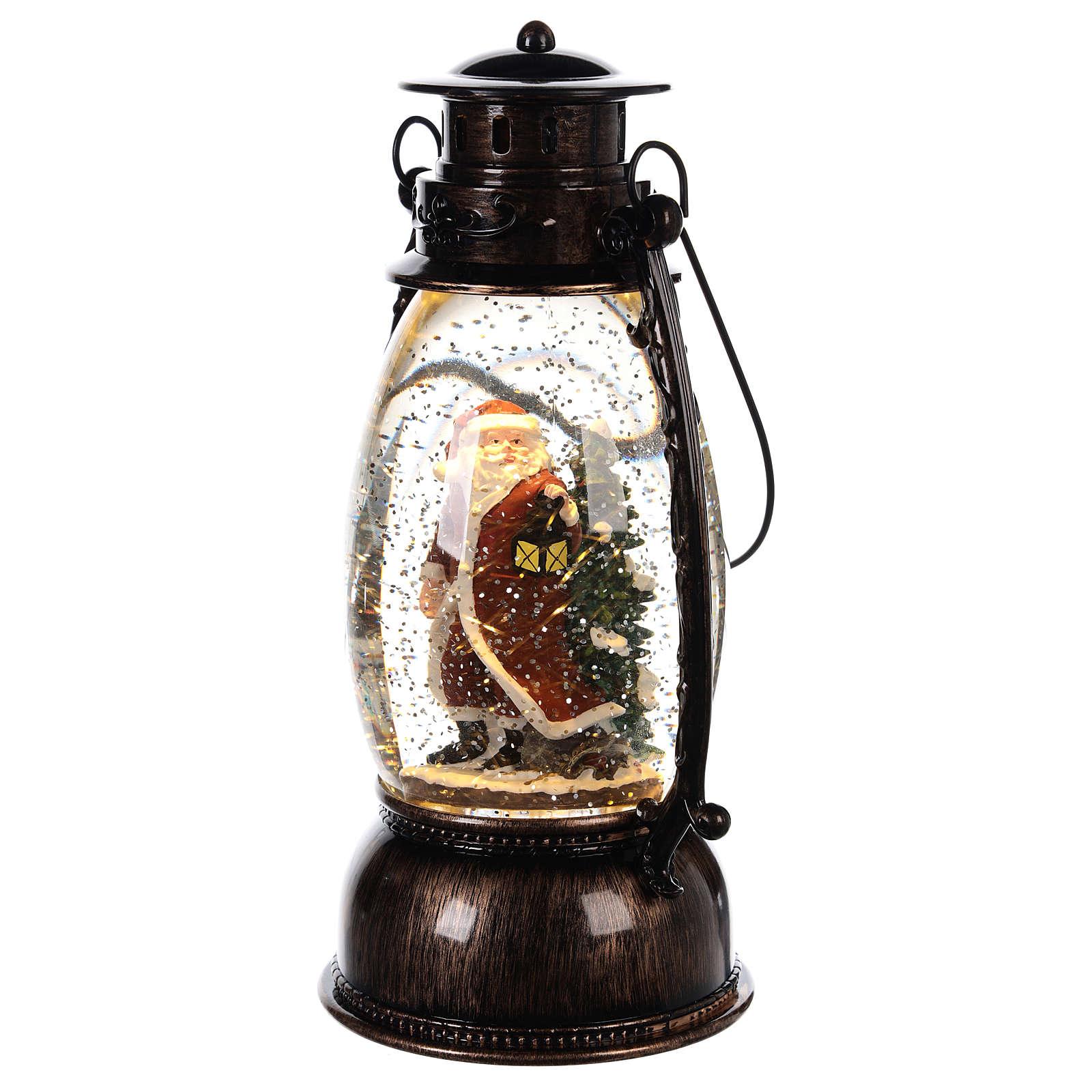 Palla di vetro con neve e Babbo Natale in lanterna 25x10 cm 3