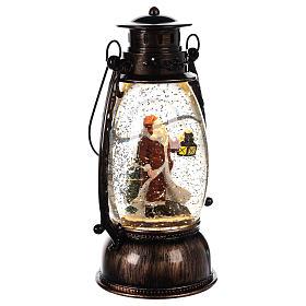 Palla di vetro con neve e Babbo Natale in lanterna 25x10 cm s3