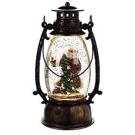 Palla di vetro con neve e Babbo Natale in lanterna 25x10 cm s4