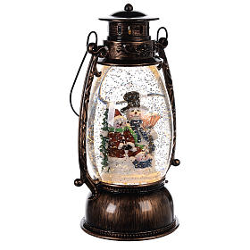 Boule à neige avec bonhommes de neige dans une lanterne 25x10 cm s3