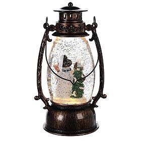 Boule à neige avec bonhommes de neige dans une lanterne 25x10 cm s4
