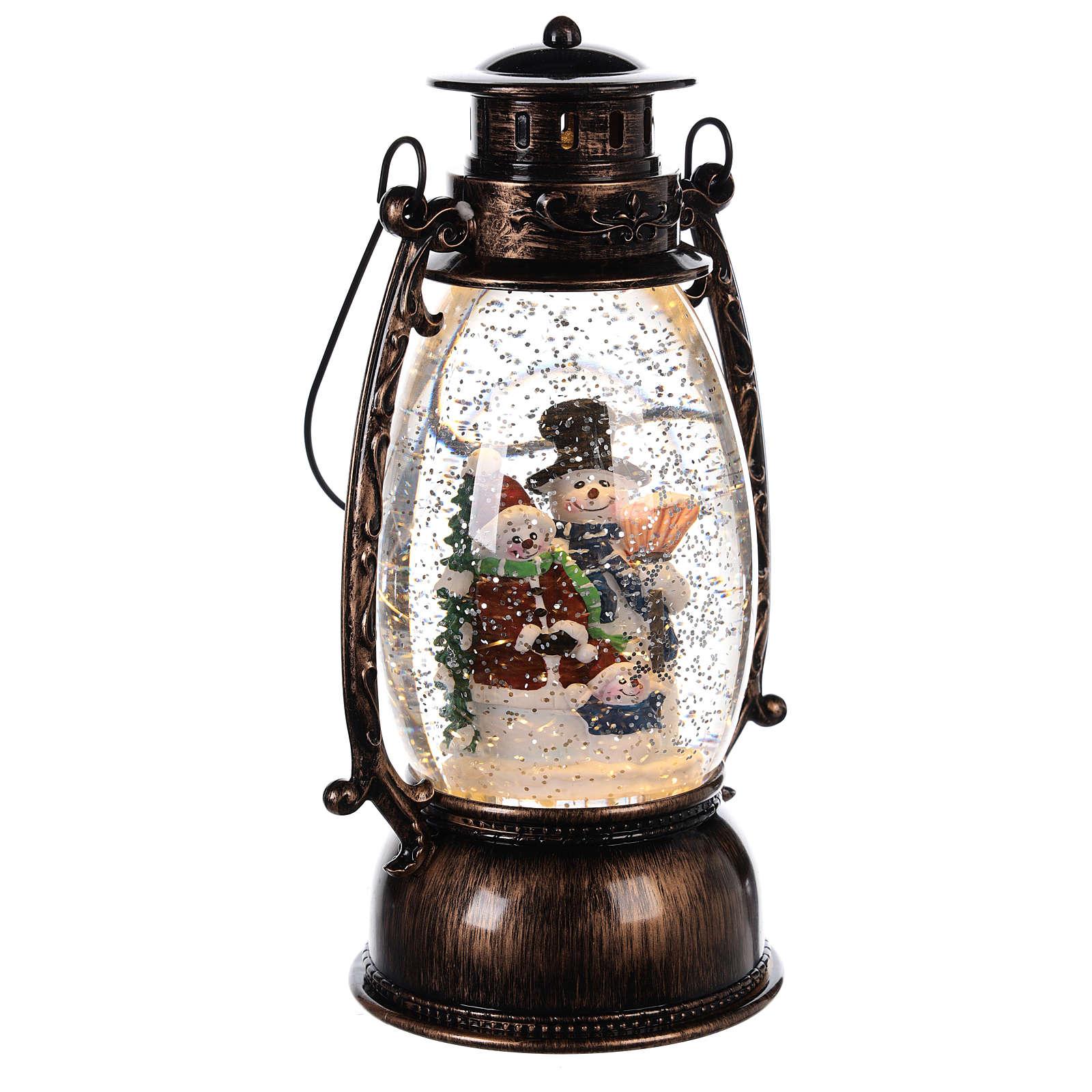 Palla di neve con pupazzi di neve in lanterna 25x10 cm 3