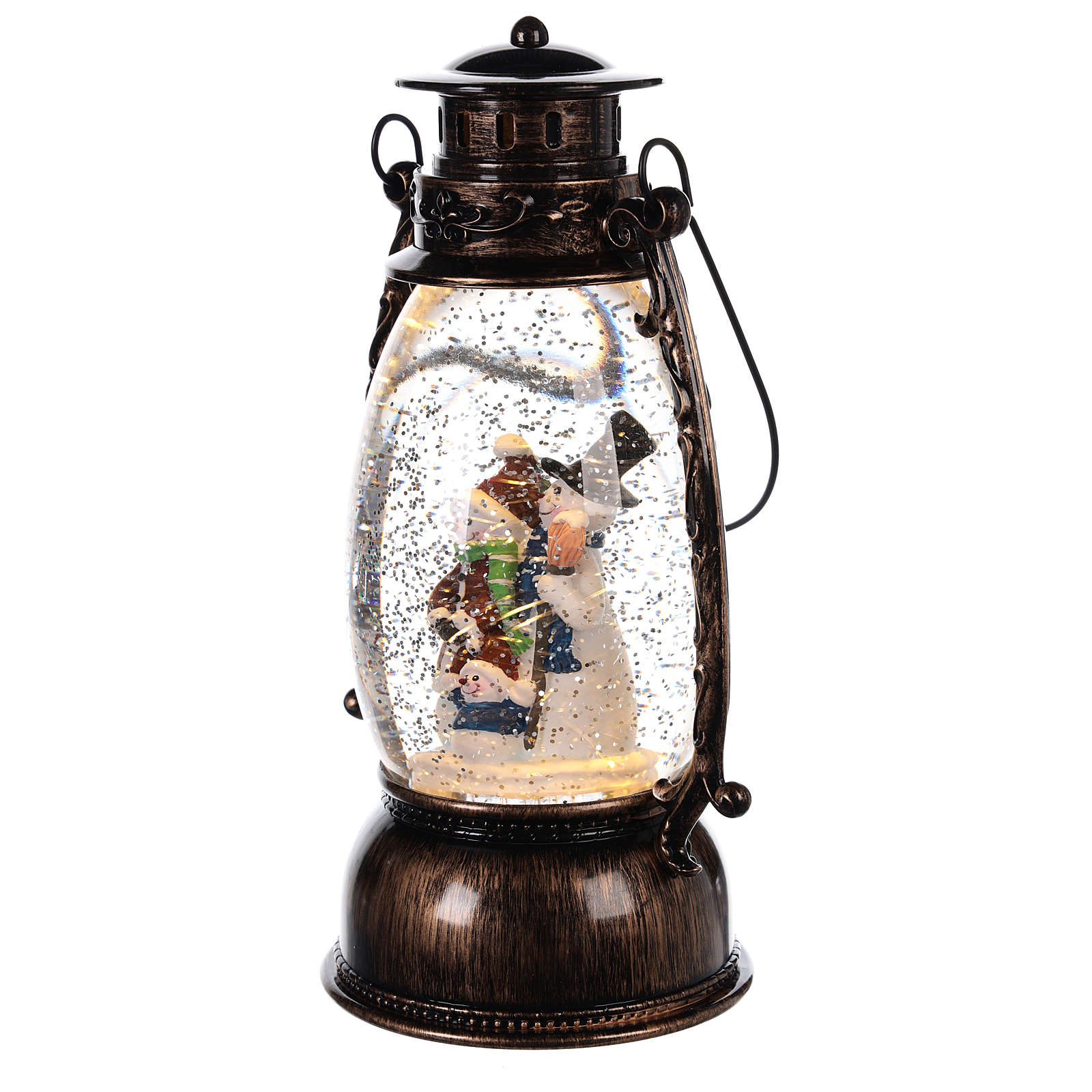 Snow globe with snowman in lantern 25x10 cm 3