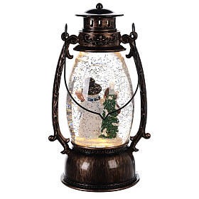 Snow globe with snowman in lantern 25x10 cm s4