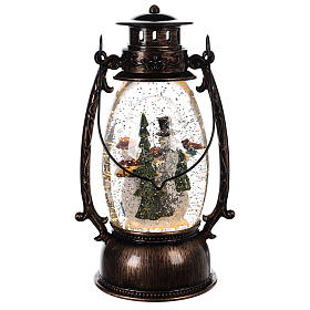 Lantern-shaped glass ball with snowmen 25x10 c s4