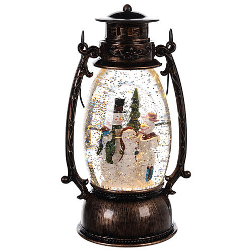 Lantern-shaped glass ball with snowmen 25x10 c 1