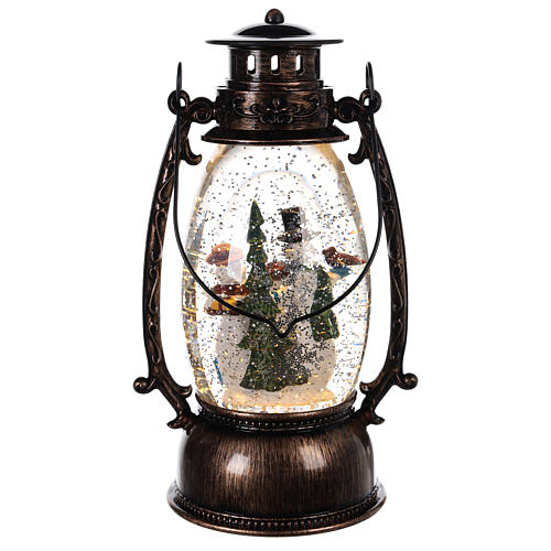 Lantern-shaped glass ball with snowmen 25x10 c 4