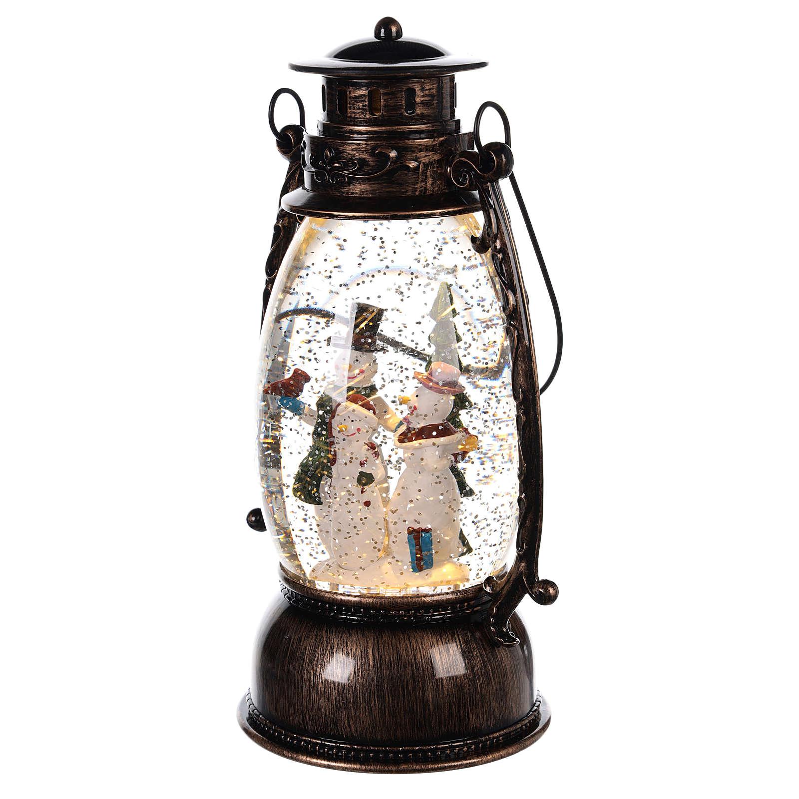 Palla di vetro forma di lanterna con pupazzi di neve 25x10 cm 3