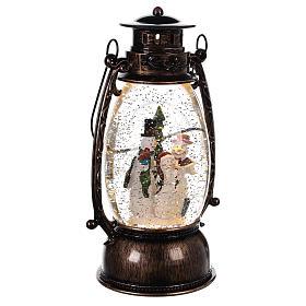 Palla di vetro forma di lanterna con pupazzi di neve 25x10 cm s3