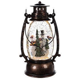 Palla di vetro forma di lanterna con pupazzi di neve 25x10 cm s4