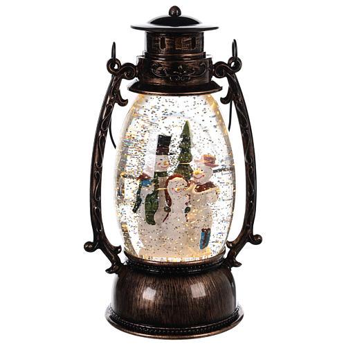 Palla di vetro forma di lanterna con pupazzi di neve 25x10 cm 1
