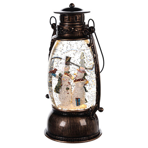 Palla di vetro forma di lanterna con pupazzi di neve 25x10 cm 2
