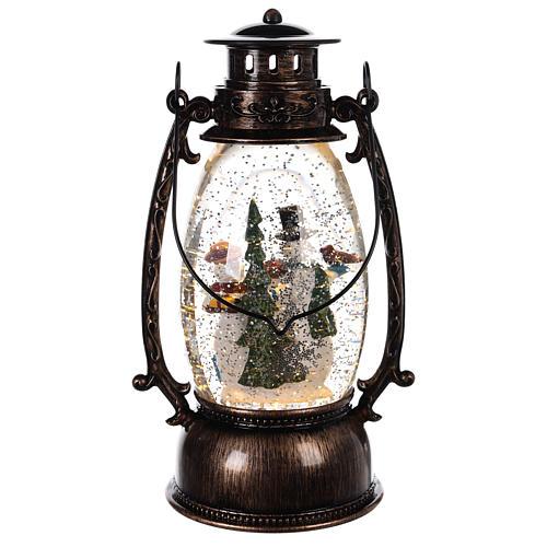 Palla di vetro forma di lanterna con pupazzi di neve 25x10 cm 4