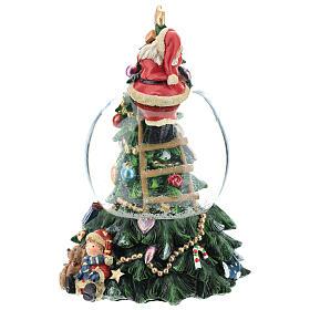 Schneekugel mit Weihnachtsmann und Weihnachtsbaum, 20 cm s3