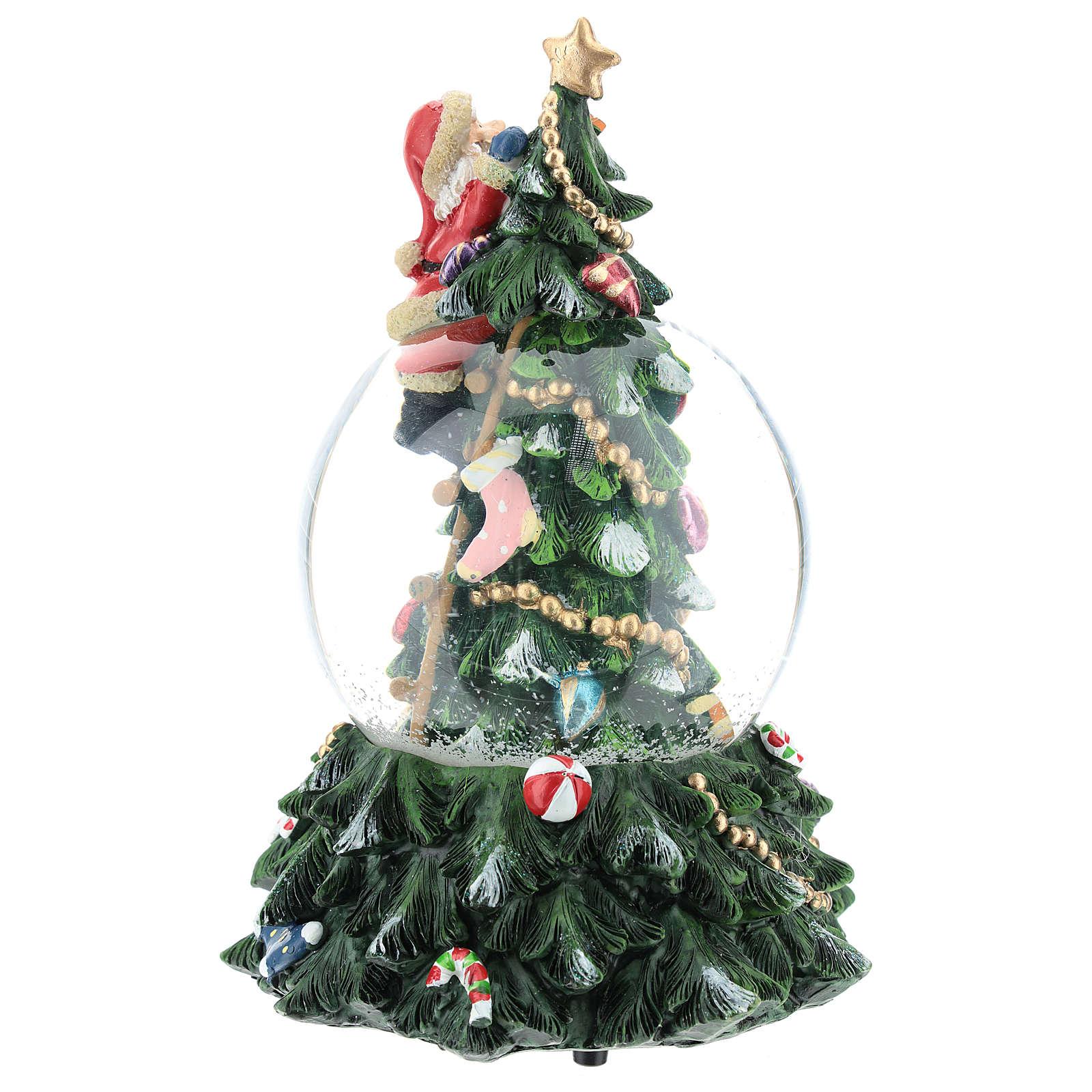Bola de nieve con Papá Noel y árbol de navidad h 20 cm 3