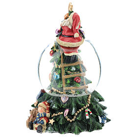 Bola de nieve con Papá Noel y árbol de navidad h 20 cm s3