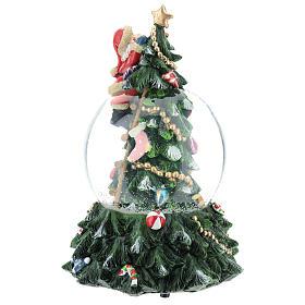 Bola de nieve con Papá Noel y árbol de navidad h 20 cm s5