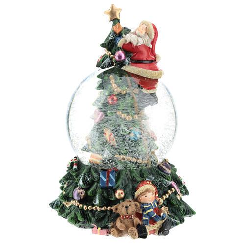 Bola de nieve con Papá Noel y árbol de navidad h 20 cm 2