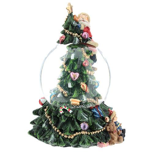 Bola de nieve con Papá Noel y árbol de navidad h 20 cm 4