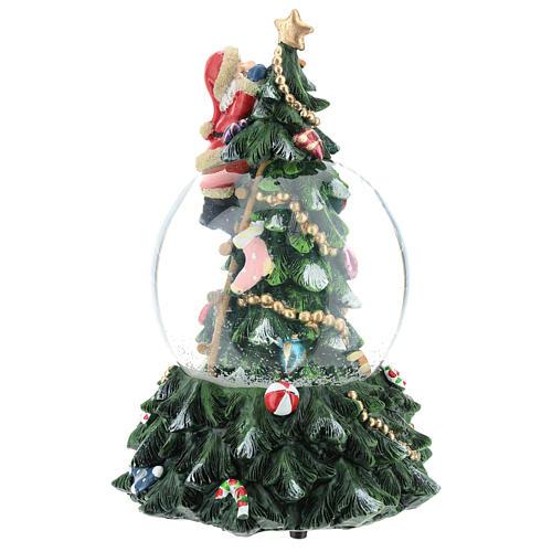 Bola de nieve con Papá Noel y árbol de navidad h 20 cm 5
