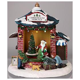Pueblo de Navidad con Papá Noel y tienda de árboles 20x20x20 cm s2