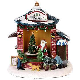 Cenários Natalinos em Miniatura: Cenário Natalino em miniatura com Pai Natal e loja de árvores de Natal 20x20x20 cm