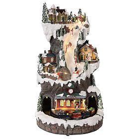 Villages de Noël miniatures: Décor de Noël 30x20x20 cm avec lumières et train en mouvement