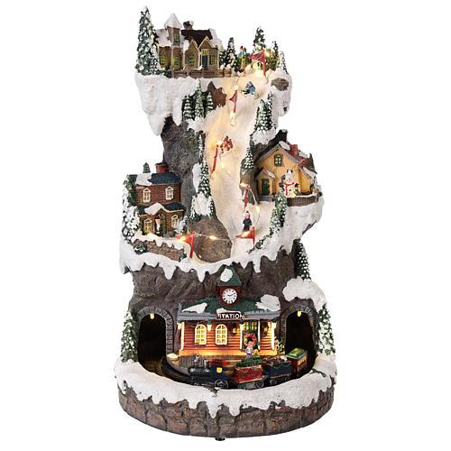 Villaggio natalizio 30x20x20 cm con luci e treno in movimento 1