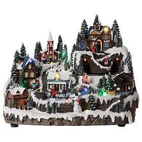 Villages de Noël miniatures: Décor de Noël avec train enfants mouvement 30x40x30 cm