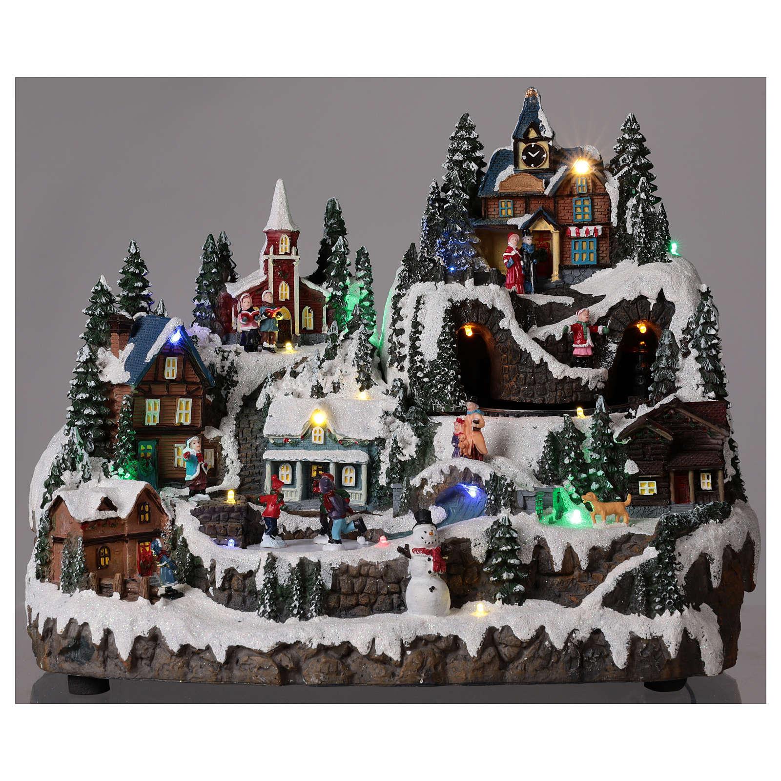 Ambientazione natalizia con treno bimbi movimento 30x40x30 cm 3
